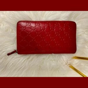 Gucci Red Zip Around Guccissima Leather Wallet